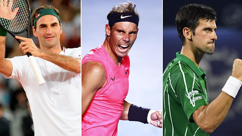 Pictured here, the Big Three of men's tennis: Roger Federer, Rafael Nadal and Novak Djokovic.