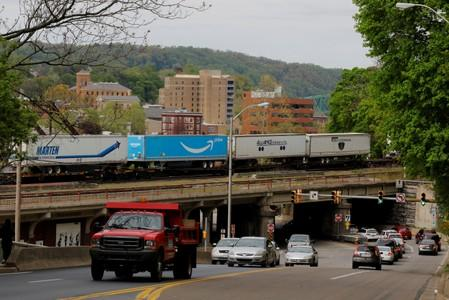 FILE PHOTO: Freight is pulled by a train through the Northampton County city of Easton
