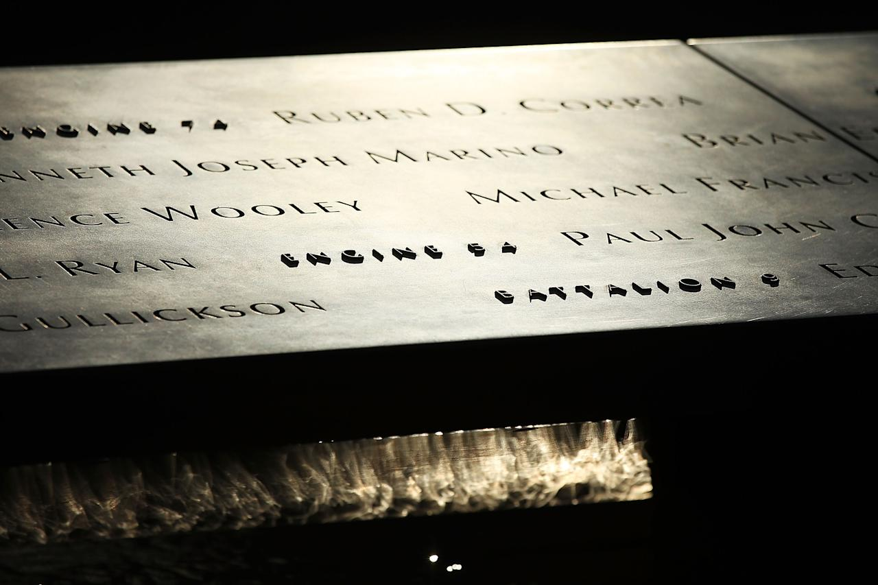 NEW YORK, NY - DECEMBER 29:  The panels containing names of the victims of the terrorist attacks are viewed on December 29, 2011 in New York City. Officials announced Thursday that in the 16 weeks since the September 11 memorial opened to the public it has seen more than 1 million visitors. The anticipated museum at the site is still under construction and it is expected that it will open on September 11, 2012.  (Photo by Spencer Platt/Getty Images)
