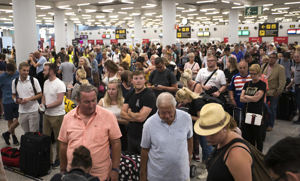 Passengers of British travel group Thomas Cook queue at Son Sant Joan airport in Palma de Mallorca on September 24, 2019. Photo: JAIME REINA/AFP/Getty Images