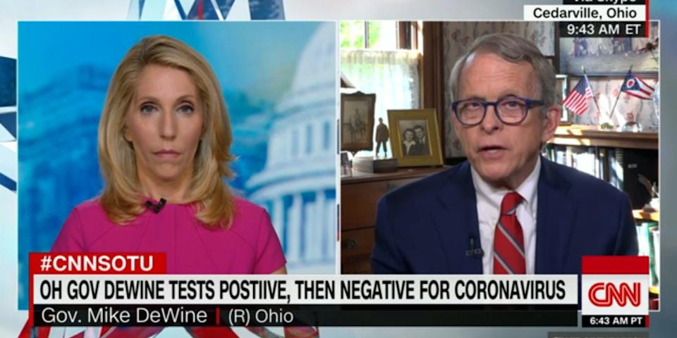 """Ohio Gov. Mike DeWine tested positive for COVID-19 on August 6, but subsequent tests were negative. <p class=""""copyright"""">Screenshot/CNN</p>"""