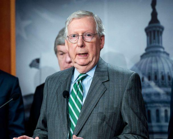 PHOTO: Senate Minority Leader Mitch McConnell speaking at a press conference about S.1, the For The People Act, June 17, 2021, in Washington, D.C. (Michael Brochstein/Polaris)