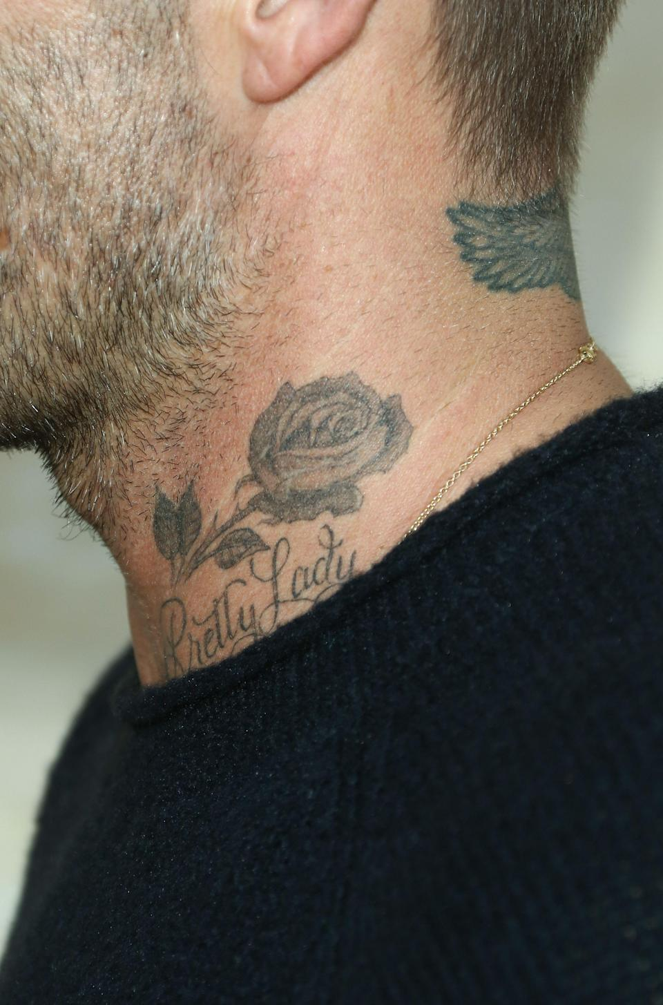 <p>David has tons of roses littered over his body in tribute to his wife Victoria. Aside from ten on his wrist, in honour of their tenth wedding anniversary, David also has one on his neck. <br>[Photo: Rex] </p>