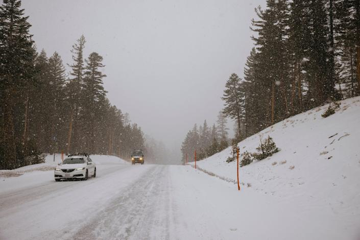 A Friday winter storm brought about 3 inches of snow near Mammoth Mountain Ski Area in Mammoth Lakes, Calif. Drivers were advised to bring chains while traveling in Southern California's mountains, where light weekend snowfall was expected to become more significant through Monday.