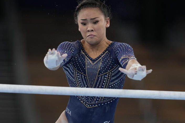 Sunisa Lee of the United States, performs on the uneven bars during the artistic gymnastics women's apparatus final at the 2020 Summer Olympics, Sunday, Aug. 1, 2021, in Tokyo, Japan. (AP Photo/Natacha Pisarenko)