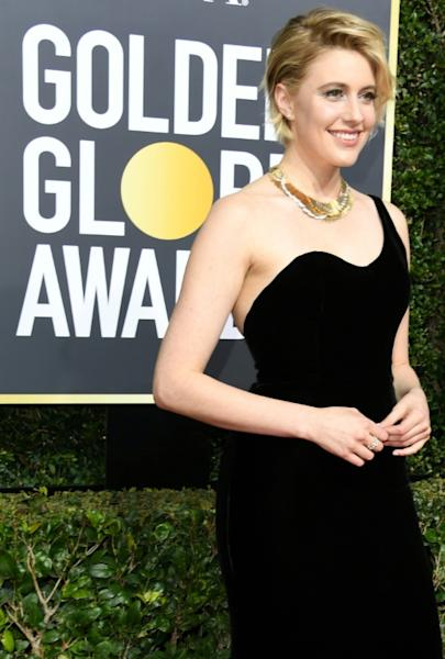 "Greta Gerwig, shown here at the Golden Globe Awards on January 7, is up for an Oscar for best director for ""Lady Bird"" -- she is only the fifth female nominated in the category"