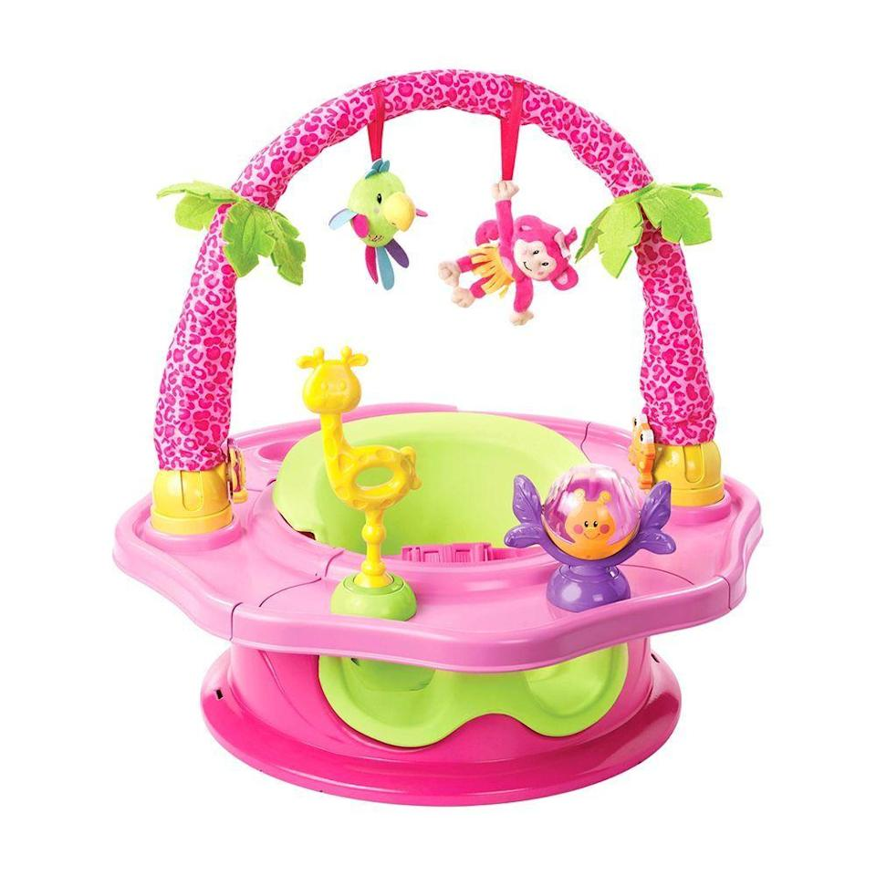 """<p><strong>Summer Infant </strong></p><p>amazon.com</p><p><strong>$44.98</strong></p><p><a href=""""http://www.amazon.com/dp/B00CXVIULK/?tag=syn-yahoo-20&ascsubtag=%5Bartid%7C2089.g.113%5Bsrc%7Cyahoo-us"""" rel=""""nofollow noopener"""" target=""""_blank"""" data-ylk=""""slk:Shop Now"""" class=""""link rapid-noclick-resp"""">Shop Now</a></p><p>Do you have a little ball of energy at home? Give that baby something to keep herself entertained with. This sweet jungle-themed floor seat by Summer Infant was designed to give your little one a case of the giggles. </p>"""