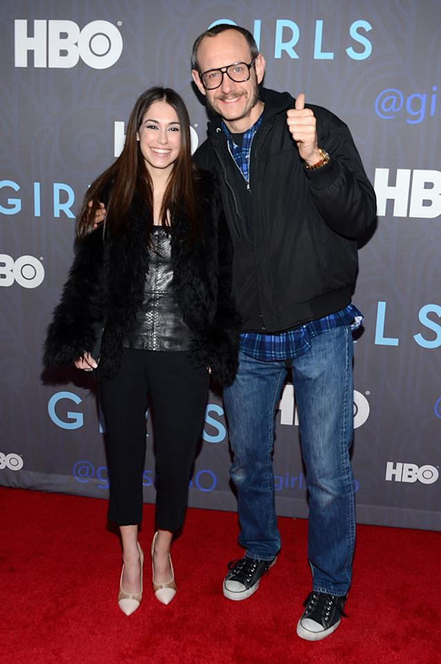 """Terry Richardson and guest attend HBO's premiere of """"Girls"""" Season 2 at the NYU Skirball Center on January 9, 2013 in New York City."""