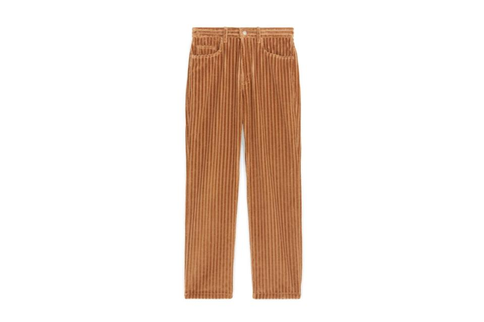"""Cozier than wool trousers but nicer than jeans, cords are key in your winter wardrobe. Whether you're a wide wale, pleated trouser man or like a pair that looks and fits more like jeans, Ami has you covered. French brands just do cords better.<br> <br> <em>Ami straight fit trouser</em> $540, Ami. <a href=""""https://www.amiparis.com/us/shopping/straight-fit-trousers-15134628"""" rel=""""nofollow noopener"""" target=""""_blank"""" data-ylk=""""slk:Get it now!"""" class=""""link rapid-noclick-resp"""">Get it now!</a>"""