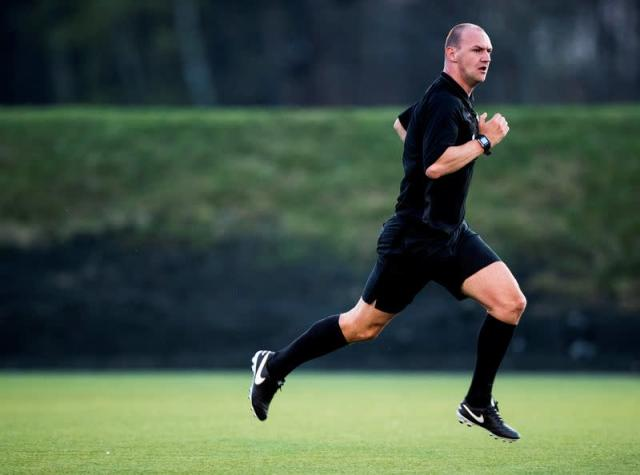 FILE PHOTO: Soccer referee Bobby Madley, formerly a Premier League referee, officiates a 4th division match in Oslo, Norway