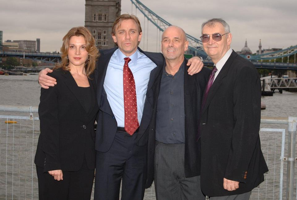 Barbara Broccolli, (producer), Martin Campbell, (director 2nd right) and Michael G.Wilson, (producer far right) unveil Daniel Craig as the new James Bond 007 ahead of the forthcoming filming of the 21st installment in the series, 'Casino Royale', at HMS President, east London, Friday 14 October 2005. See PA story SHOWBIZ Bond. PRESS ASSOCIATION Photo. Photo credit should read: Ian West/PA