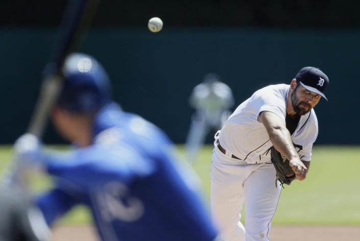 Detroit Tigers' Michael Fulmer (32) pitches against the Kansas City Royals during the first inning of a baseball game Sunday, April 25, 2021, in Detroit. (AP Photo/Duane Burleson)