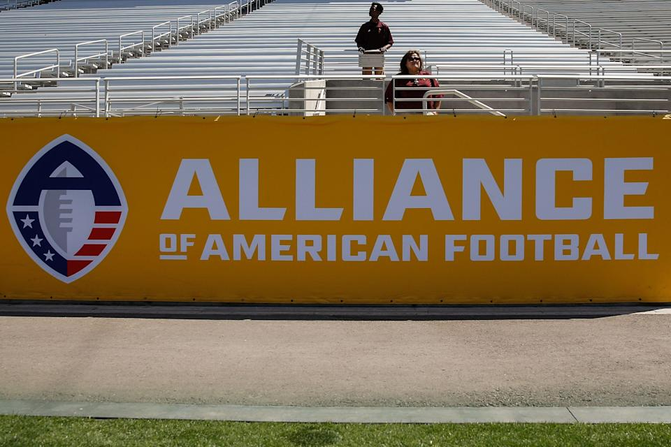 TEMPE, AZ - MARCH 24:  The Alliance of American Football and logo on a banner during the AAF football game between the San Diego Fleet and the Arizona Hotshots on March 24, 2019 at Sun Devil Stadium in Tempe, Arizona. (Photo by Kevin Abele/Icon Sportswire via Getty Images)