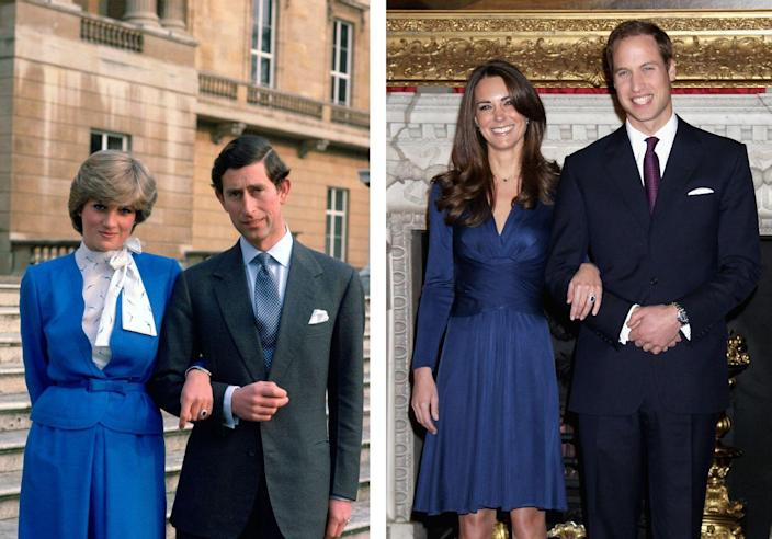 """<p>Kate Middleton and Prince William's <a href=""""https://www.hellomagazine.com/royalty/gallery/2019042972401/kate-middleton-prince-william-love-story-photos-then-and-now/1/"""" rel=""""nofollow noopener"""" target=""""_blank"""" data-ylk=""""slk:meet-cute"""" class=""""link rapid-noclick-resp"""">meet-cute</a> is the stuff of fairytales. The royal couple came across each other while attending University of St. Andrews, with Kate catching William's eye as she strutted down the catwalk for a charity fashion show. The prince was smitten and, years later, they exchanged sacred vows at Westminister Abbey in front of the world. Today, Kate and William are the proud parents of three precious little ones: George, Charlotte, and Louis. </p>"""