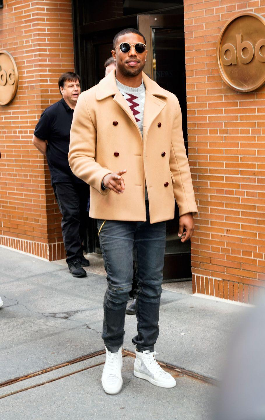 <p>MBJ loves a good sneaker and a statement jacket, and here he pulls both of them off without overdoing it.</p>