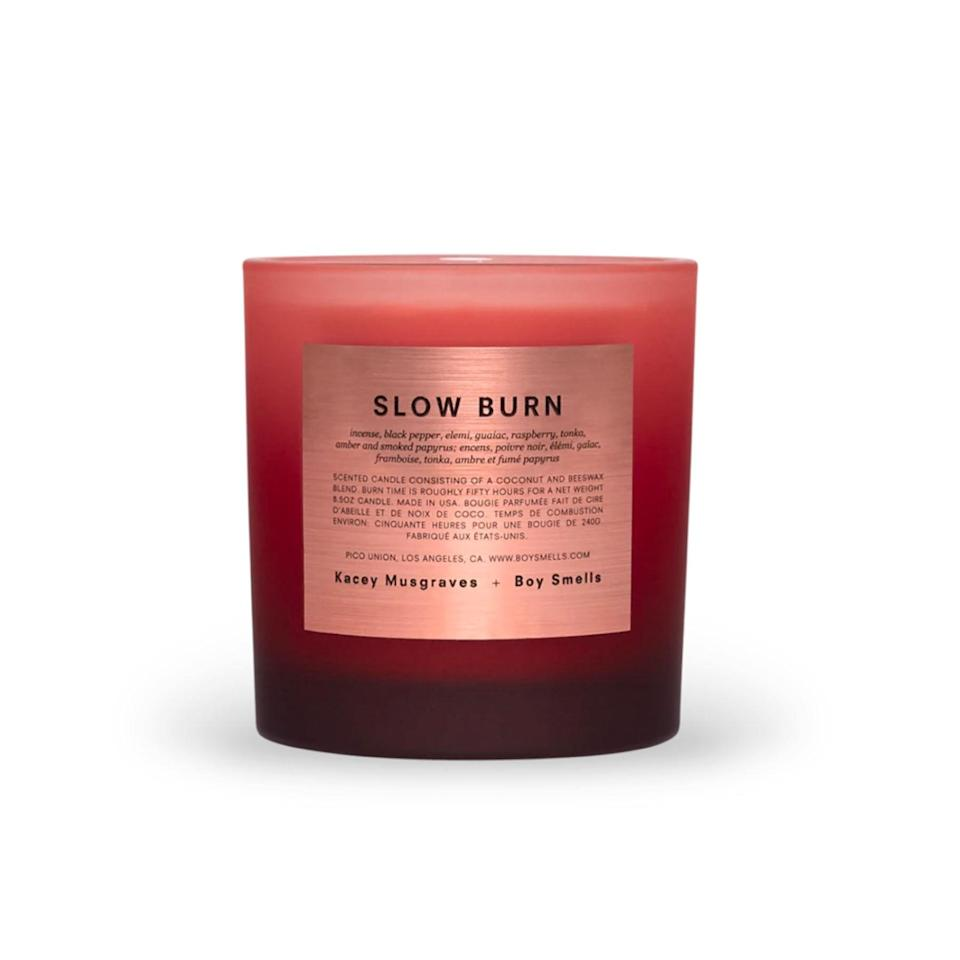 """Let Kacey Musgraves's Boy Smells collaboration light a dim glow in your little oasis, and enjoy scents of black pepper, raspberry, tonka, and amber—while <em>Golden Hour</em> plays softly in the background. $39, Boy Smells. <a href=""""https://boysmells.com/products/slow-burn"""" rel=""""nofollow noopener"""" target=""""_blank"""" data-ylk=""""slk:Get it now!"""" class=""""link rapid-noclick-resp"""">Get it now!</a>"""