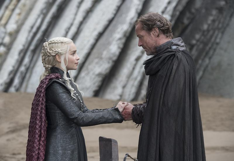 Maybe it's not just us who's shipping Jon and Daenerys on Game of Thrones. Jorah and Jon have a heart to heart in in this week's episode when Jon tries to give Jorah Longclaw, the sword Jorah's father had bestowed on Jon when they were both in the Night's Watch.