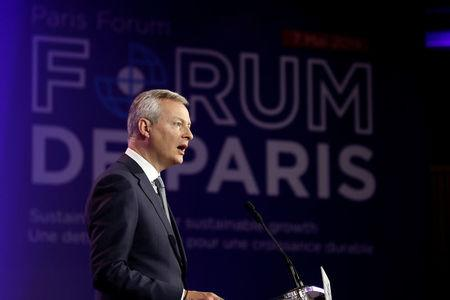 French Economy and Finance Minister Bruno Le Maire delivers a speech during a high-level forum on debt at the Finance ministry in Paris