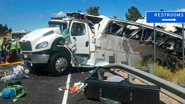PHOTO: This photo released by the Garfield County Sheriff's Office shows a tour bus after it crashed near Bryce Canyon National Park in southern Utah, killing at least four people and critically injuring up to 15 others, Sept. 20, 2019. (Garfield County Sheriff via AP)