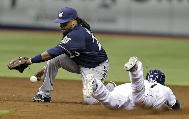 Milwaukee Brewers second baseman Rickie Weeks, left, can't hang onto the ball as Tampa Bay Rays' Kevin Kiermaier steals second base during the third inning of an interleague baseball game Wednesday, July 30, 2014, in St. Petersburg, Fla. (AP Photo/Chris O'Meara)