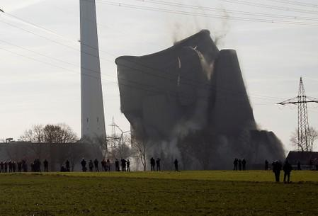 FILE PHOTO: A disused coal-fired power station is destroyed via controlled explosion