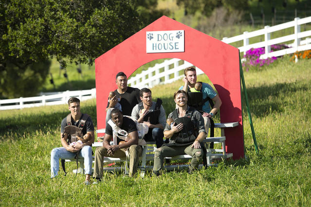 <p>Dean, Fred, Iggy, Jack, Blake E., and Jonathan in ABC's <i>The Bachelorette</i> <br>(Photo: Michael Yada/ABC) </p>