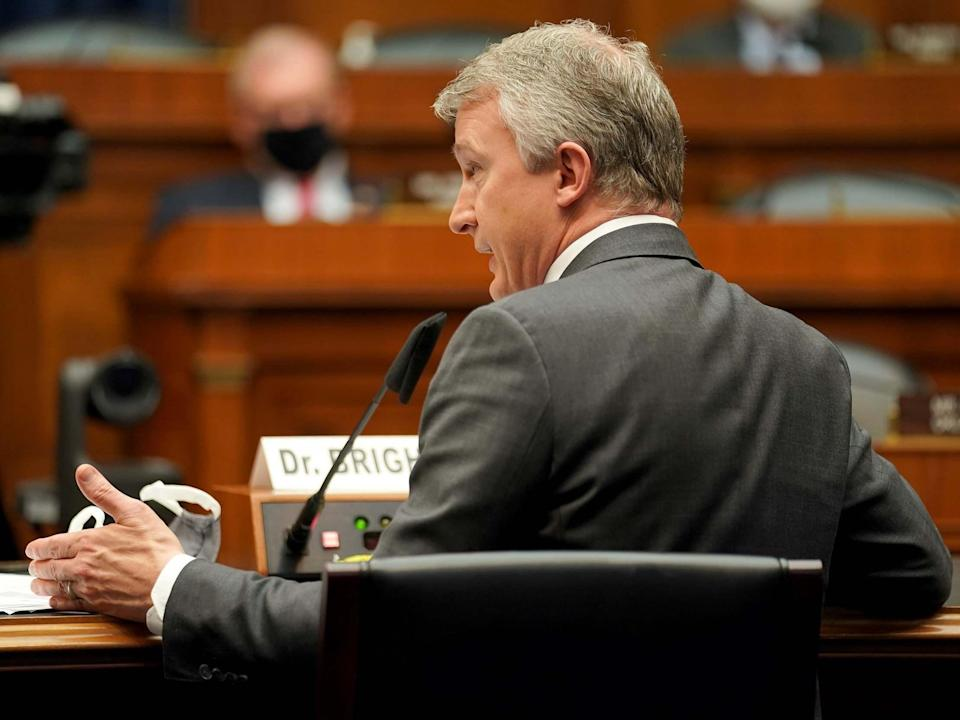 Dr. Rick Bright testified before the House Energy and Commerce Subcommittee on Thursday (POOL/AFP via Getty Images)