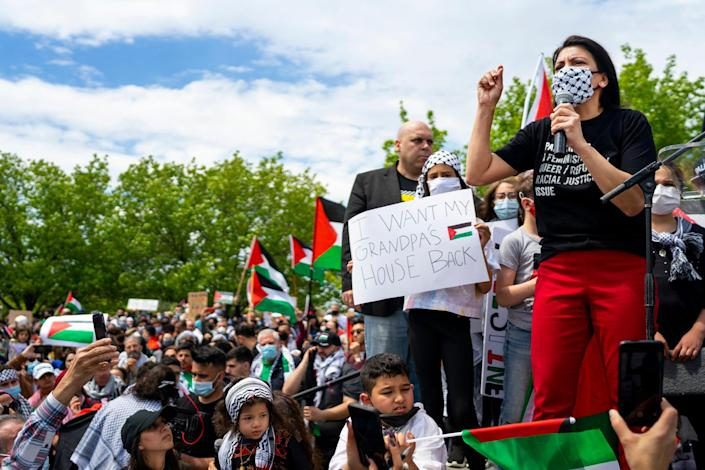 """Rep. Rashida Tlaib, D-Mich., who is Palestinian American, has condemned fellow lawmakers for continuing """"unconditional support"""" for Israel that """"has enabled the erasure of Palestinian life."""""""