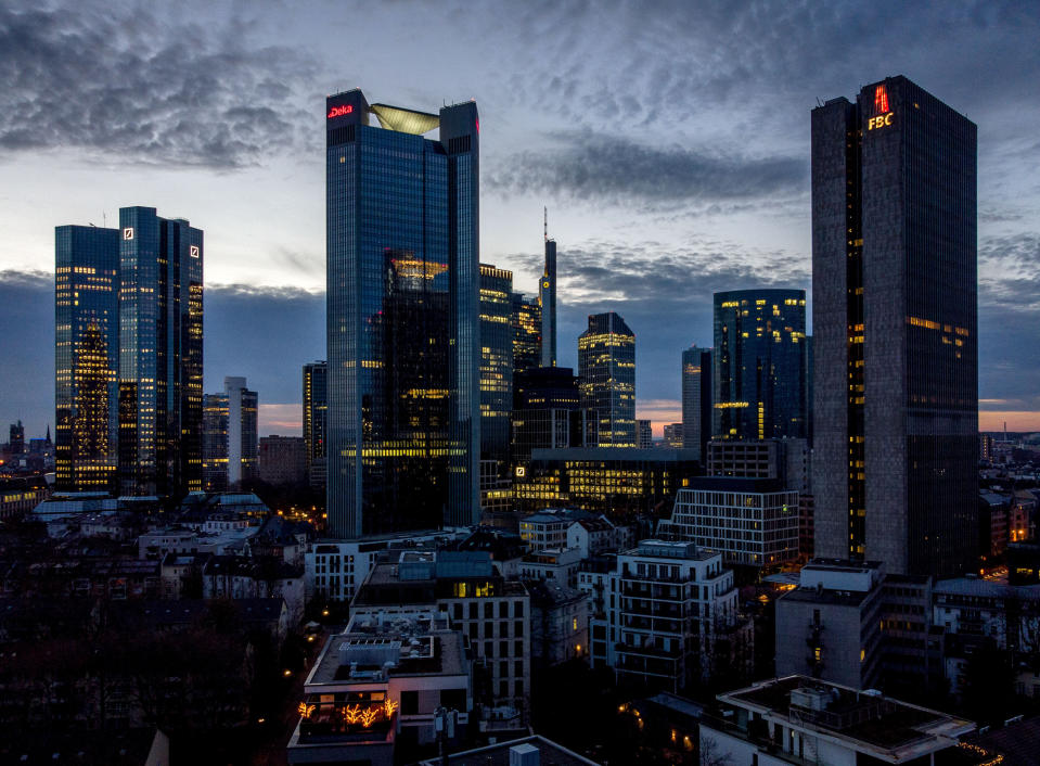 Frankfurt's banking distruct at dusk, Germany. Photo: Michael Probst/AP