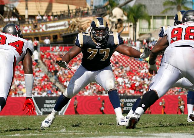Jason Smith played three seasons for the Rams, starting 26 games. (Getty)