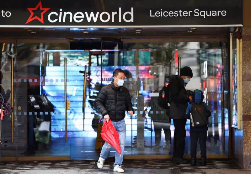 People are seen at a Cineworld in Leicester's Square in London