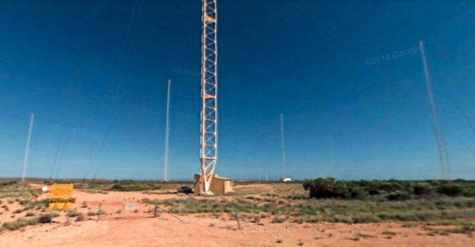 Tower zero is seen surrounded by smaller towers at Naval Communication Station Harold E. Holt