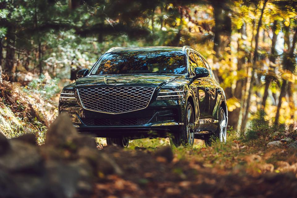 A handout photo from automaker Genesis shows the 2021 GV80. The GV80 is equipped with multiple safety features, including 10 airbags and a forward-collision warning system.