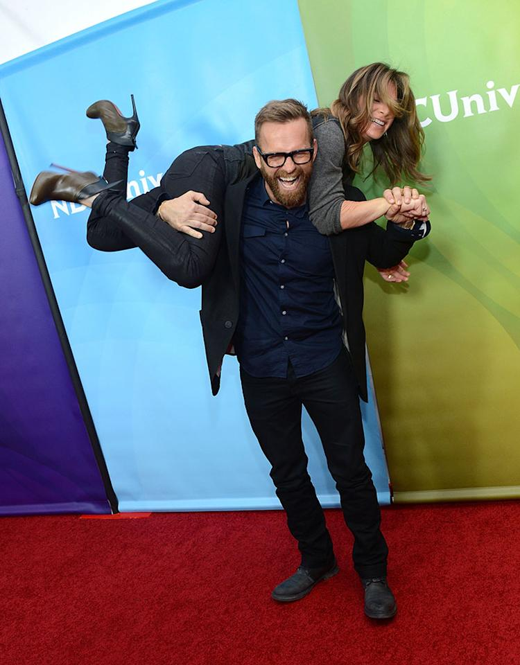 """Bob Harper and Jillian Michaels attend NBCUniversal's """"2013 Winter TCA Tour"""" Day 1 at Langham Hotel on January 6, 2013 in Pasadena, California."""