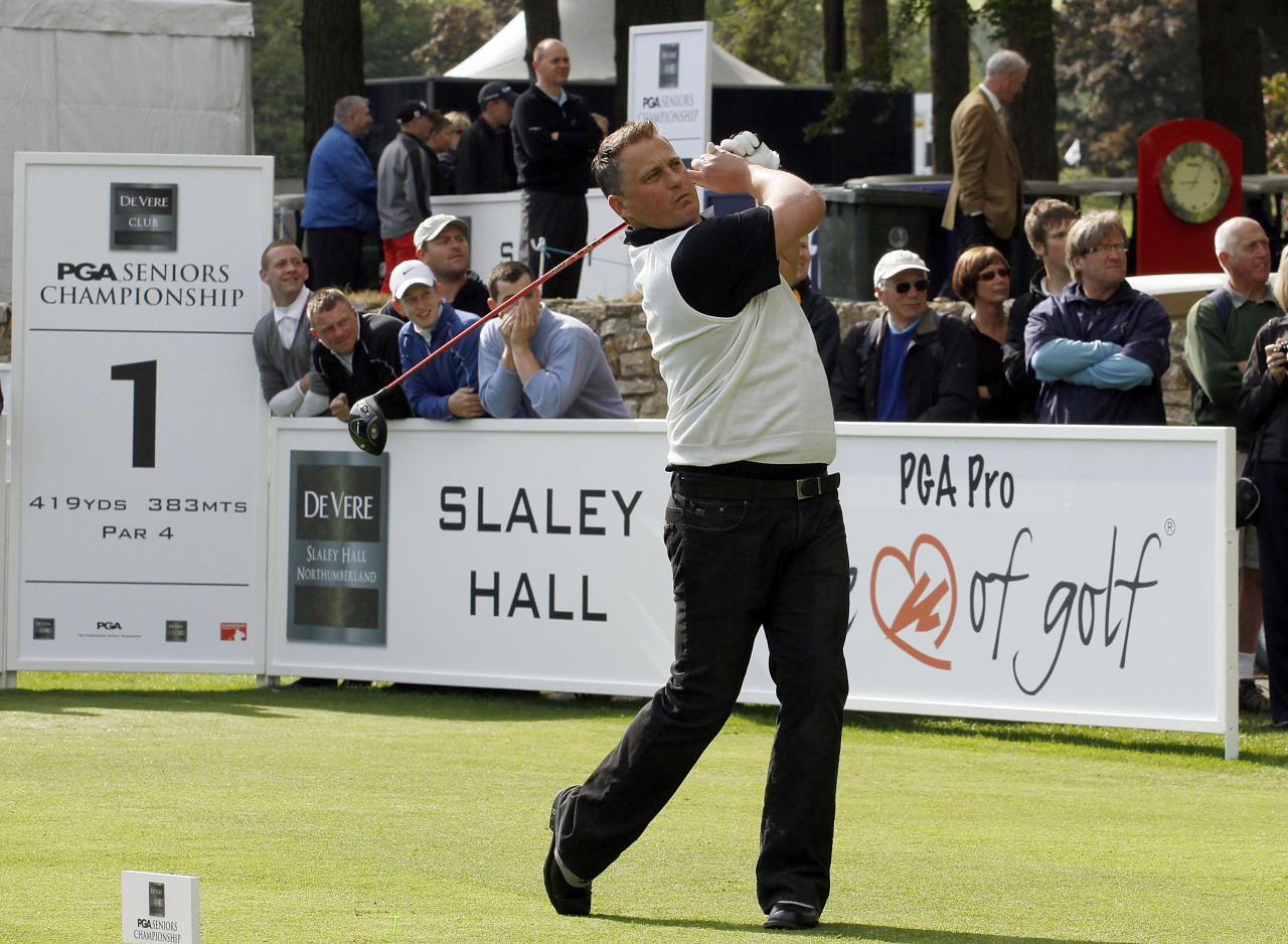 HEXHAM, ENGLAND - JUNE 08:  Cricketer Darren Gough plays in the Freddy versus Harry Match during the Pro-Am for the the De Vere Club PGA Seniors Championship played at the Hunting Course, De Vere Slaley Hall on June 8, 2011 in Hexham, England.  (Photo by Phil Inglis/Getty Images)