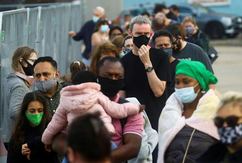 <strong>People queue at a test centre following an outbreak of the coronavirus disease (COVID-19) in Southend-on-sea</strong> (Photo: Hannah Mckay / reuters)