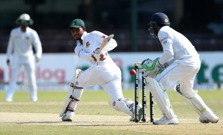 Bangladesh's Mosaddek Hossain bats against Sri Lanka on the third day of the second Test in Colombo on March 17, 2017