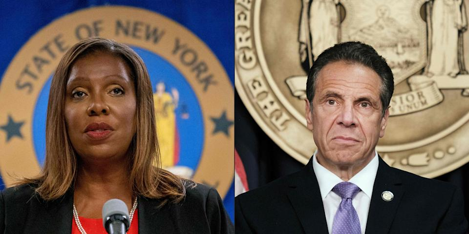 Attorney General Letitia James (L) presents the findings of an independent investigation into accusations by multiple women about New York Governor Andrew Cuomo (AFP via Getty Images)