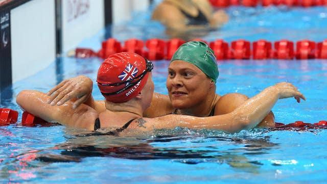 South Africa's Natalie Du Toit, right, at London 2012