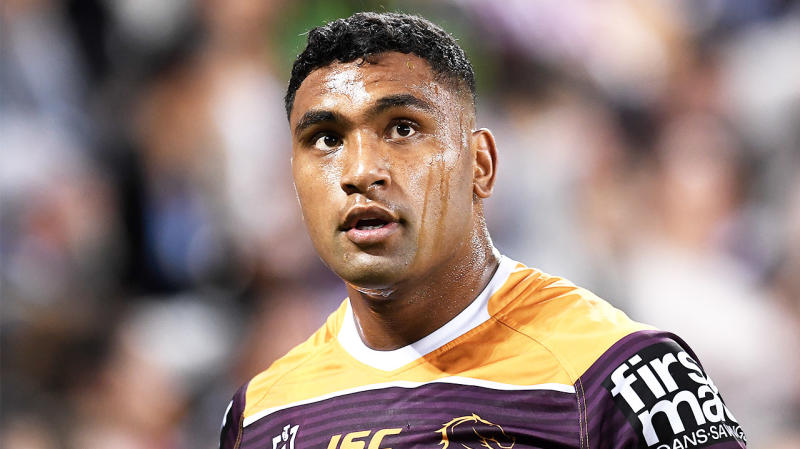 Tevita Pangai Junior (pictured) sweating during an NRL game.