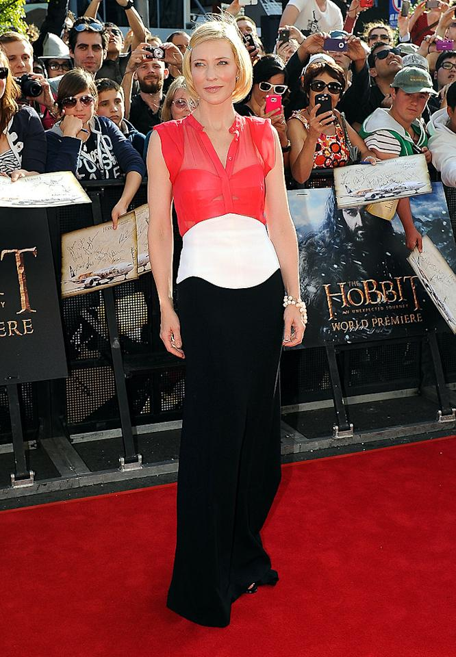 "WELLINGTON, NEW ZEALAND - NOVEMBER 28: Cate Blanchet arrives at the ""The Hobbit: An Unexpected Journey"" world premiere at the entrance to the red carpet on November 28, 2012 in Wellington, New Zealand. (Photo by Mark Tantrum/WireImage)"