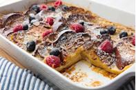 """<p>This French toast is perfect for a crowd. It's not too sweet, not too heavy, and amazing with powdered sugar or maple syrup.</p><p>Get the recipe from <a href=""""https://www.delish.com/cooking/recipe-ideas/a20138091/easy-french-toast-casserole-recipe/"""" rel=""""nofollow noopener"""" target=""""_blank"""" data-ylk=""""slk:Delish"""" class=""""link rapid-noclick-resp"""">Delish</a>.</p>"""