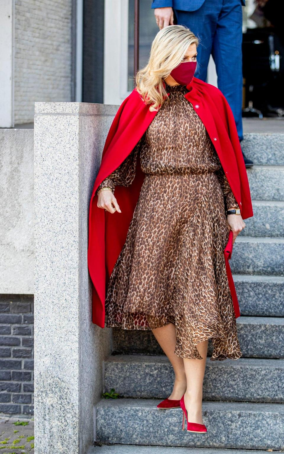 Queen Maxima wearing a leopard print dress by Notan at The Hague - Getty