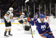 New York Islanders right wing Cal Clutterbuck (15) reacts after scoring a goal on Vegas Golden Knights goaltender Malcolm Subban (30) during the second period of an NHL hockey game Thursday, Dec. 5, 2019, in Uniondale, N.Y. (AP Photo/Kathy Willens)