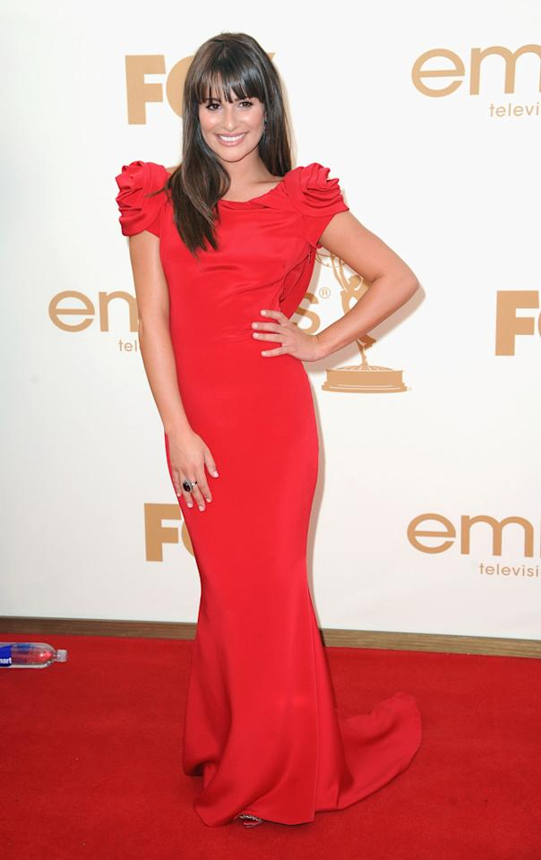 Lea Michele earned Best Dressed nods for her 63rd Annual Primetime Emmy Awards red carpet look. She wore a stunning backless Marchesa gown to the star-studded event, which was held at Nokia Theatre L.A. Live on September 18, 2011 in Los Angeles, California.
