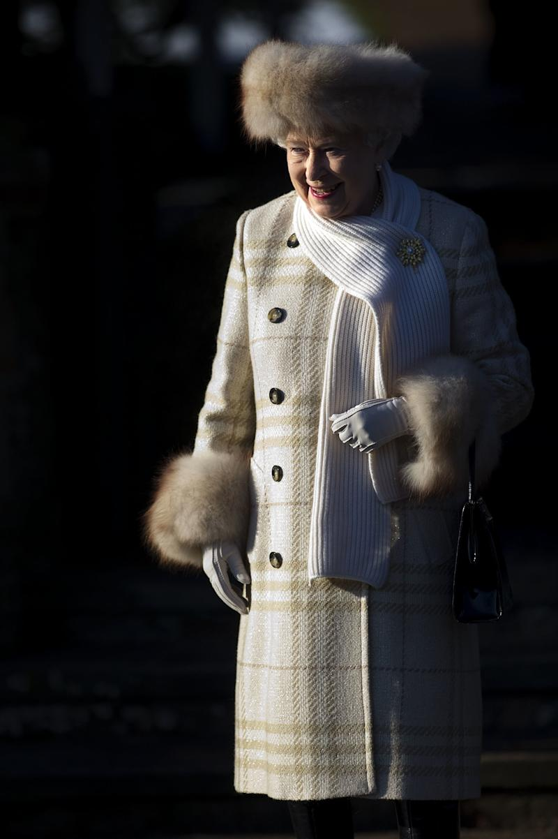 Queen Elizabeth II has been photographed wearing fur for decades. She wore a fur-trimmed hat and coat to a Christmas Day church service in 2010.