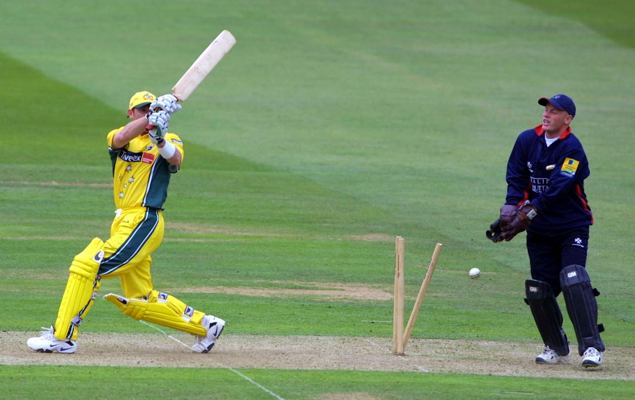 5 Jun 2001: Ian Harvey of Australia is bowled by Simon Cook of Middlesex with David Nash behind the stumps during the one day tour match between Middlesex and Australia at Lord's, London.    Digital Image    Mandatory Credit: Craig Prentis/ALLSPORT