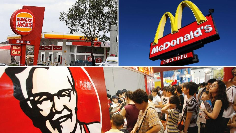 Hungry Jack's store on the top left, McDonald's sign on the top right, and people queued at a KFC on the bottom.