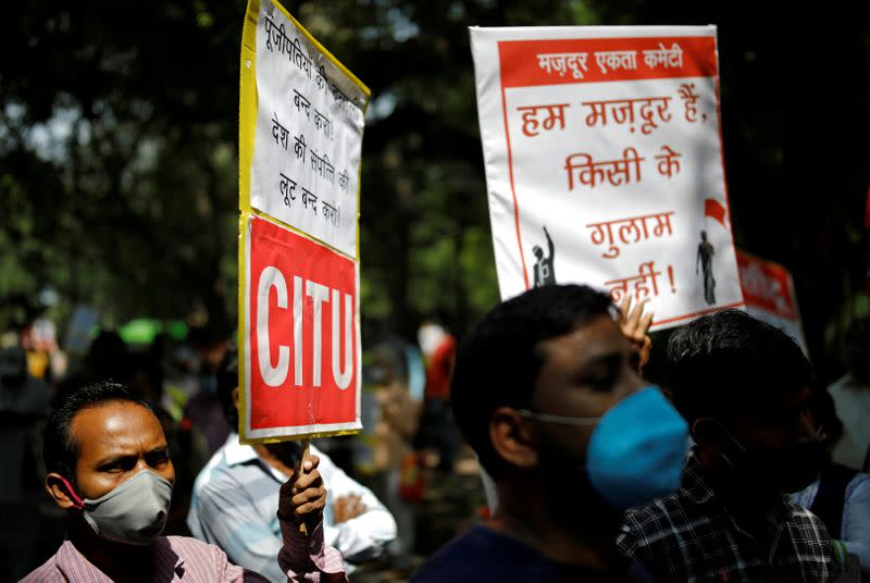 FILE PHOTO: Protest organised by various trade unions against labour law changes and the disinvestment and privatisation of public sector enterprises, in New Delhi
