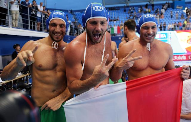 Swimming - 18th FINA World Swimming Championships - Men's Water Polo Gold Medal Match - Spain vs Italy - Nambu University Grounds, Gwangju, South Korea - July 27, 2019. Team Italy celebrates after the match. REUTERS/Antonio Bronic